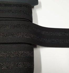 Sierlint elastisch zwart/zwart glitter
