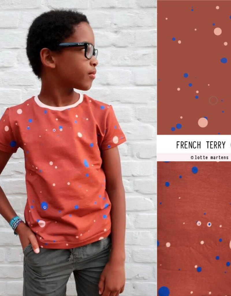 Dots Fiery red french terry