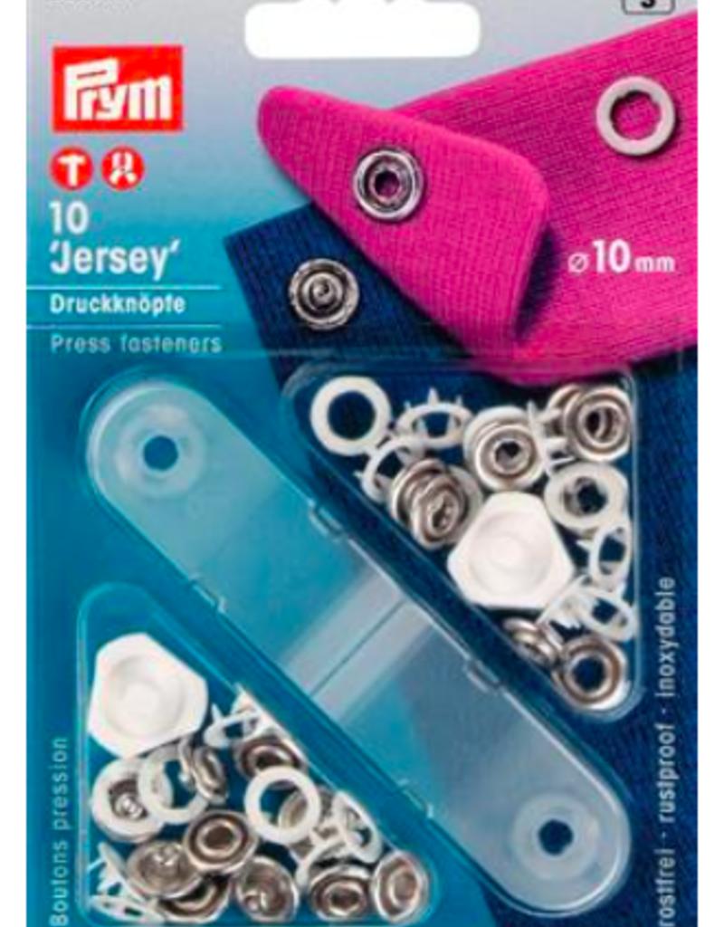 Jersey drukknoop wit 10 mm