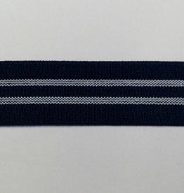 Elastiek blauw 2strepen 25 mm