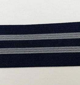 Elastiek blauw  2 strepen 40 mm