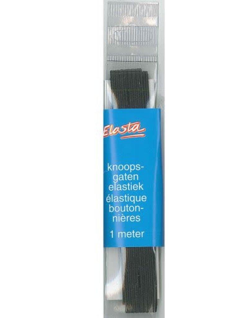 Knoopsgat elastiek zwart 18 mm