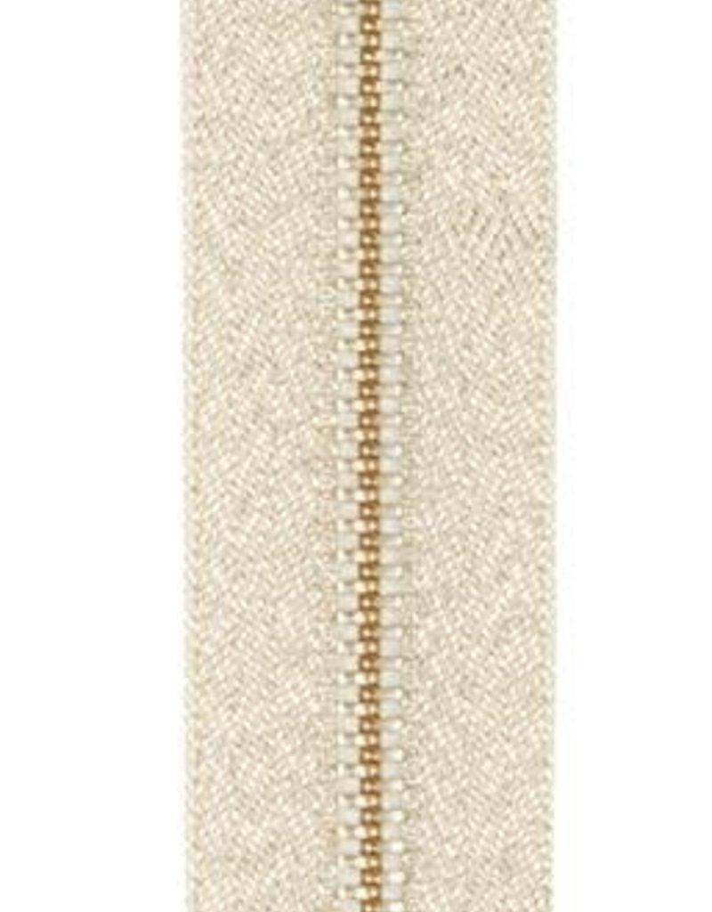Rits zilver lurex 18 cm