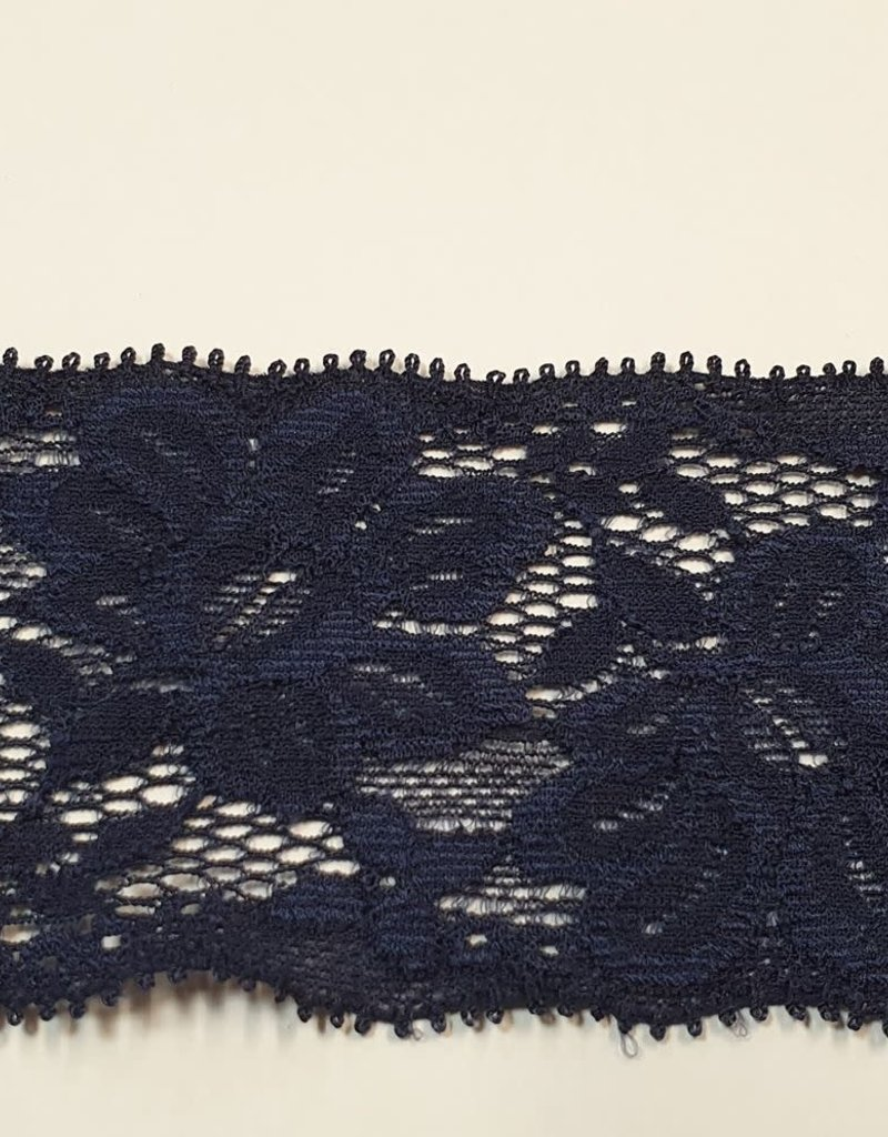 Elastische kant 55 mm donker blauw