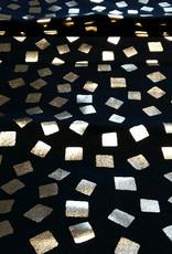 Katoen zwart met gouden vierkantjes