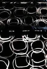 Katoen zwart met zilver cirkels