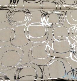 Katoen wit met zilver cirkels