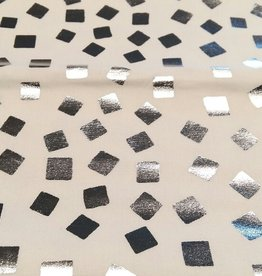 Katoen wit met zilver vierkantjes