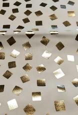 Katoen  wit met gouden vierkantjes
