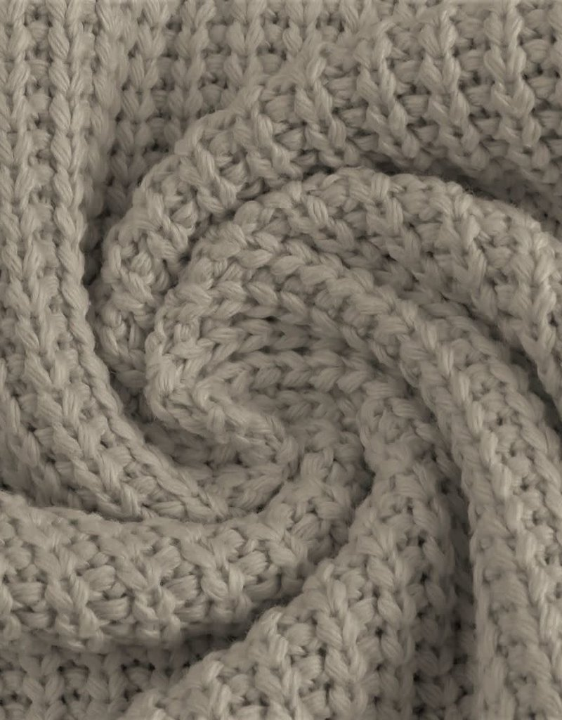 Cotton knitted cable grijs