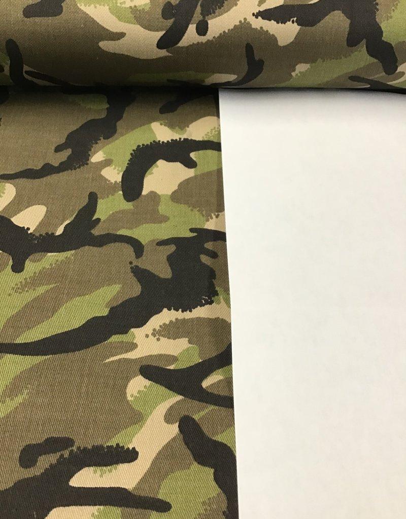 Camouflage stretch katoen