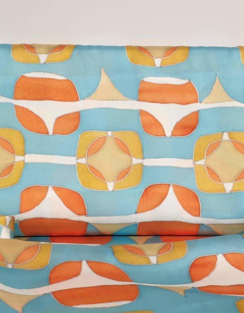 Retro orange and blue