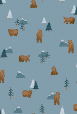 Riley Blake Denim  camp woodland grizzly bears