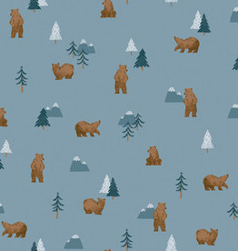 Riley Blake Denim  camp woodland grizzly bears