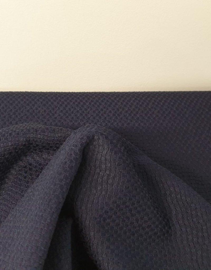 Relief katoen donker blauw