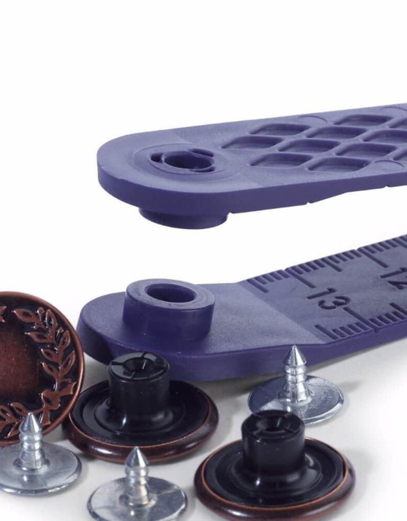 Jeansknoop oud koper 17 mm