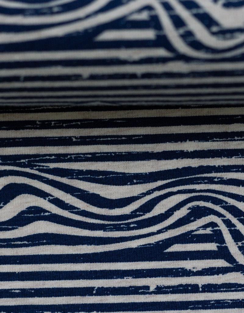 Zebra waves donker blauw