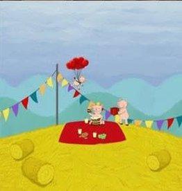 Finch Fabrics paneelstof 'feestende varkens'