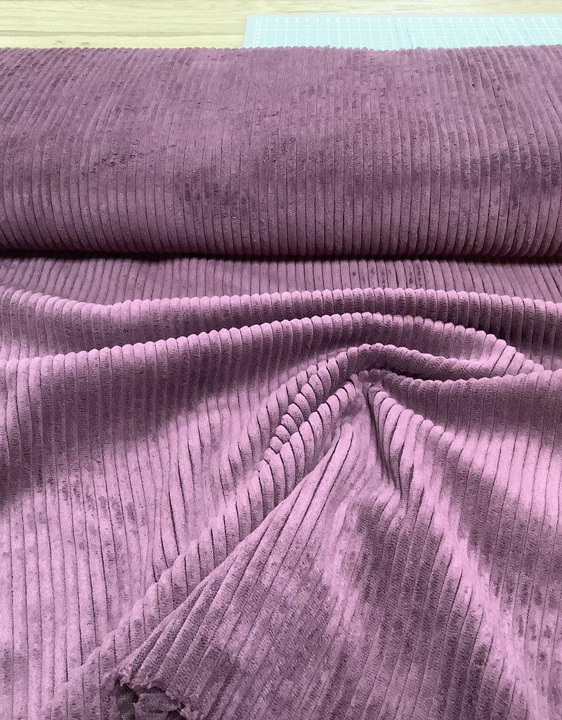Ribfluweel brede rib bordeaux/paars