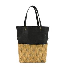 Fold over bag Vicky  Black with diamonds