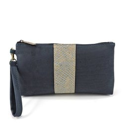 Captain Cork Clutch Kim wristlet Alligatorprint Blauw