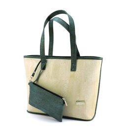 MURIEL - Ruime schoudertas met extra portemonnee wit/turquoise