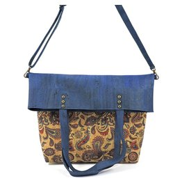 VICKY - Fold-over bag blue/print