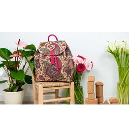 Backpack Sam  with etnical print pink Paisley