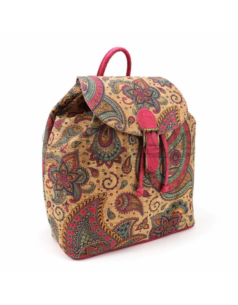 Captain Cork SAM - Natural backpack  with etnical print pink paisley