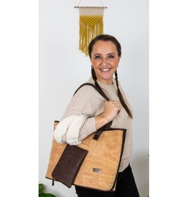 Captain Cork Large Shoulder bag  Muriel with extra purse Natural / brown