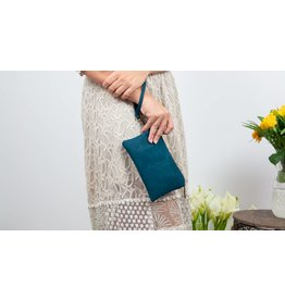 Clutch wristlet met draagbandje Turquoise