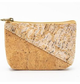 Captain Cork Wallet for coins in cork color with a pattern of white flowers