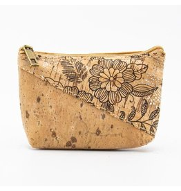 Captain Cork Wallet for coins in cork color with a pattern of black flowers