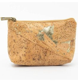 Captain Cork Wallet for coins in cork color with a golden pattern