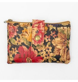 Captain Cork Wallet with beautiful floral pattern Pink/ black