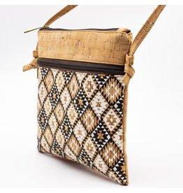 Captain Cork Shoulder bag Sara  with etnical print and light brown details