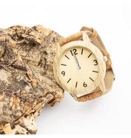 Captain Cork Horloge uit hout met een kurklederen band beige en natuur