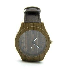 Captain Cork Horloge uit hout met kurklederen band in donkerbruin
