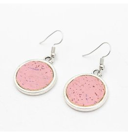 Captain Cork Earrings round Cork Pink