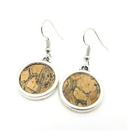 Captain Cork Earrings antique silver dark cork look