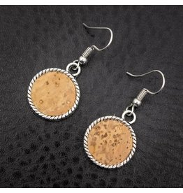 Captain Cork Earrings antique silver cork look