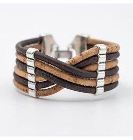Captain Cork Wide bracelet out of cork in dark brown