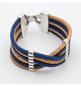 Captain Cork Brede armband uit kurk in donker Navy blauw