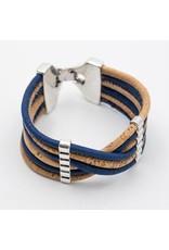 Captain Cork Brede armband uit kurk in licht blauw