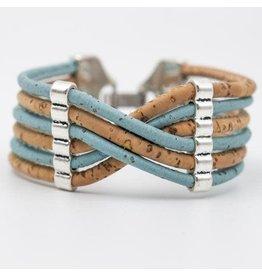 Captain Cork Wide bracelet out of cork in light blue