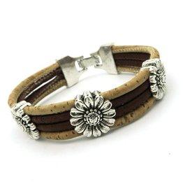 Captain Cork Bracelet with chrysanthemum in dark brown