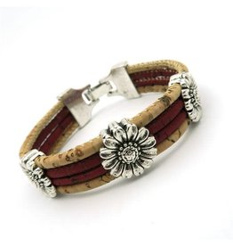 Captain Cork Bracelet with chrysanthemum in Wine red