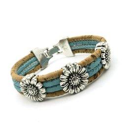 Captain Cork Bracelet with chrysanthemum in blue