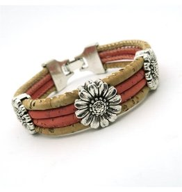 Captain Cork Bracelet with chrysanthemum in soft pink