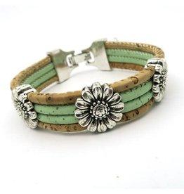 Armband chrysanten uit kurk in pistache groen